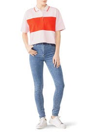 Colorblock Cropped Polo by Tory Sport