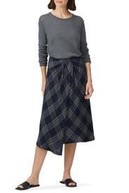 Textured Plaid Drape Skirt by VINCE.