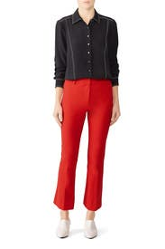 Red Cropped Flare Trousers by Derek Lam 10 Crosby