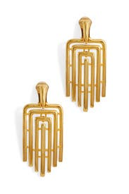 Gold Art Deco Clip Earrings by Kenneth Jay Lane
