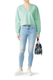Mint Cropped Pullover by Tibi