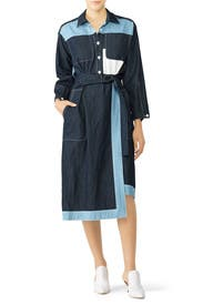 Two Tone Denim Shirtdress by Colovos