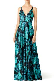Teal Shimmer Gown by Badgley Mischka