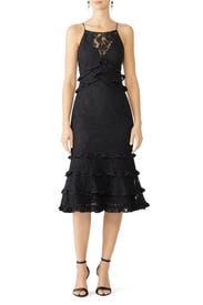 Black Catch Me Lace Midi Dress by Keepsake