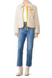 Ivory Faux Sherpa Jacket by Tory Burch