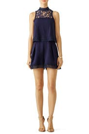 Navy Double Layer Romper by Nicholas