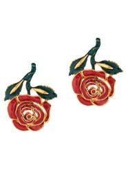 Petite Rose Resin Earrings by Oscar de la Renta