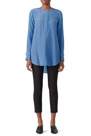 Striped Blue Windsor Top by Equipment