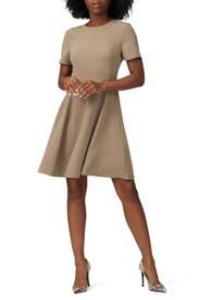 Khaki Paneled Dress by Theory