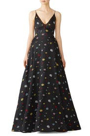 Black Multi Floral Gown by ML Monique Lhuillier