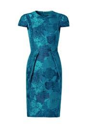 Teal Envelope Dress by Carmen Marc Valvo