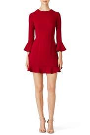 Currant Red Ruffle Bell Dress by Jill Jill Stuart