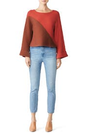 Red Colorblock Sweater by Slate & Willow