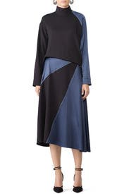 Black And Navy Midi Dress by Cedric Charlier