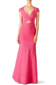 Pink Diamond Cutout Gown by Hervé Léger
