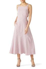Striped Cut-Out Midi Dress by Tibi