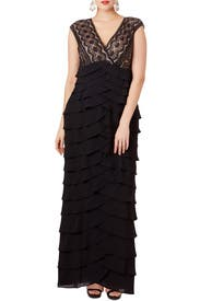 Black Scallop Gown by Adrianna Papell