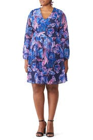 Blue Floral Print Dress by Alexia Admor