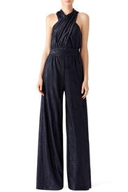 Ocean Blue Sparkle Jumpsuit by Rachel Zoe