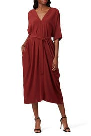 Red Belted Midi Dress by Co