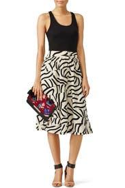 Black Stripe Layer Print Skirt by J.O.A.