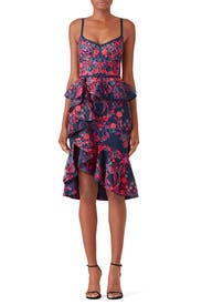 Floral Peplum Dress by Marchesa Notte