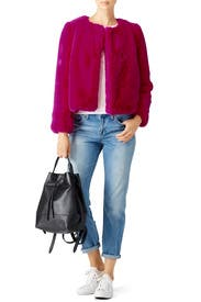 Fuchsia Faux Fur Jacket by Milly