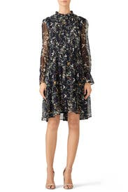Navy Bird Printed Dress by The Kooples