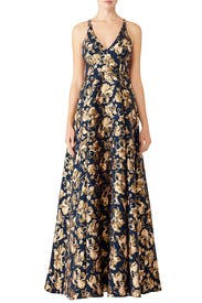 Floral Jacquard Gown by Badgley Mischka