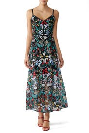 Floral Overlay Dress by ML Monique Lhuillier