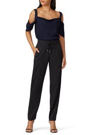 Navy Cold Shoulder Top by Jason Wu Collective