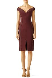 Burgundy Bandage Off Shoulder Dress by Nicholas