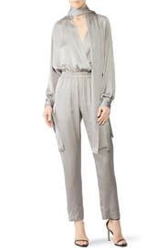 Silver Draped Jumpsuit by Juan Carlos Obando