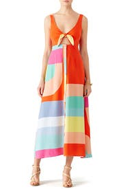 Colorblock Tie Midi Dress by Mara Hoffman