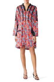 Lace Trim Floral Dress by Koché