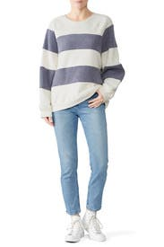 Sherpa Stripe Slouch Sweatshirt by The Great.