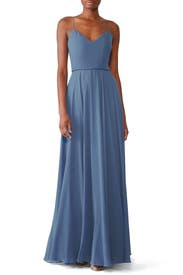 Slate Blue Inesse Gown by Jenny Yoo
