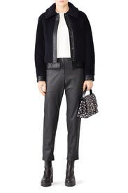 Leather Trim Faux Shearling Jacket by Martin Grant