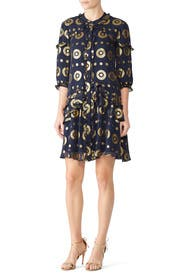 Navy Gold Tilly Ruffle Dress by SALONI