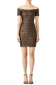 Gold Sequin Mini Dress by Dress The Population