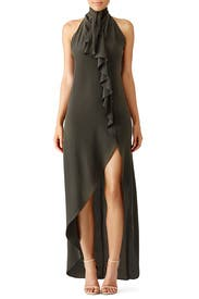 Olive Asymmetrical Ruffle Gown by Haute Hippie