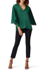 Green Satin Blouse by Sachin & Babi