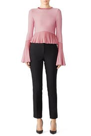 Metallic Pleats Bell Sleeve Top by Jonathan Simkhai