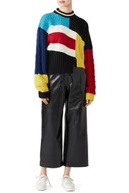 Cropped Colorblock Sweater by MSGM