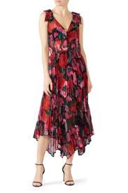 Floral Asymmetric Robe Dress by The Kooples