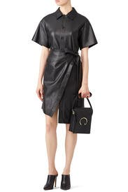 Faux Leather Wrap Dress by Goen. J