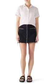 Black Denim Moto Skirt by J BRAND