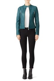Teal Leather Jacket by DOMA