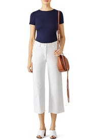 White Essential Carpenter Crop Pants by Free People