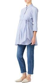 Blue Dora Maternity Shirt by Isabella Oliver